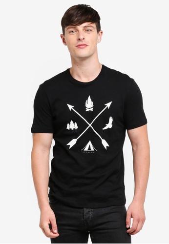 Sisley 黑色 短袖圖案印花T恤 FEAF7AA14EC7FBGS_1