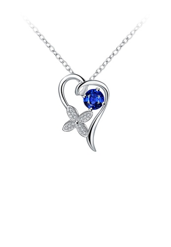 Glamorousky blue Fashion and Elegant Heart-shaped Four-leafed Clover Pendant with Blue Cubic Zircon and Necklace FA293ACFB8110FGS_1