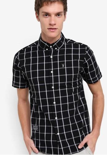 格紋短袖襯衫, 服zalora 順豐飾, 襯衫