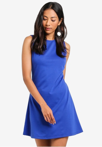 ZALORA BASICS blue Basic Mock Dart Fit And Flare Dress 758D3AA69D564FGS_1