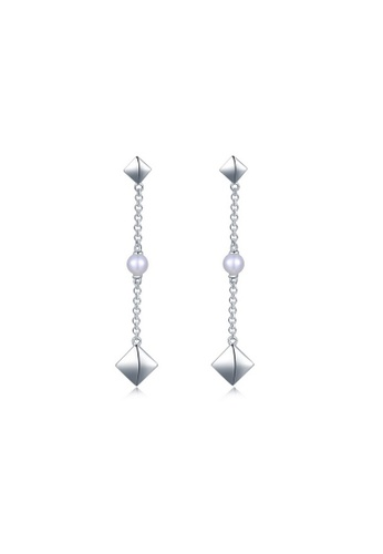 MBLife silver 925 Sterling Silver Freshwater Pearl Long Chain Stud Earrings 2CE0BAC60D1C6CGS_1
