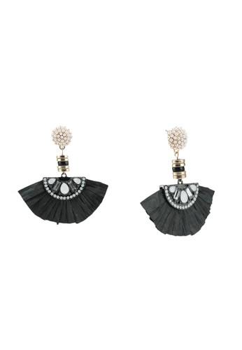 River Island black Pearl Raffia Drop Earrings C6A77AC4FF80ACGS_1