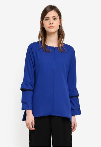 Wafiyya by Dollscarf blue Jasmine Nursing Blouse WA375AA0S75SMY_1