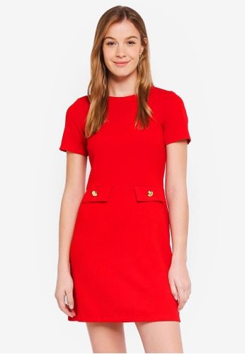 Dorothy Perkins 紅色 Red Button Pocket Shift Dress B74E7AAA0FC920GS_1