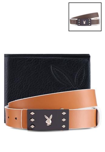 Playboy black and grey Reversible Belt & Wallet Gift Set 028FDACEA07CF0GS_1