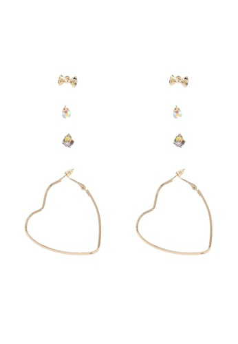 Red's Revenge gold 4-In-1 Put Your Heart Into It Dangle & Studs Earrings Set 0C18BAC1818E43GS_1