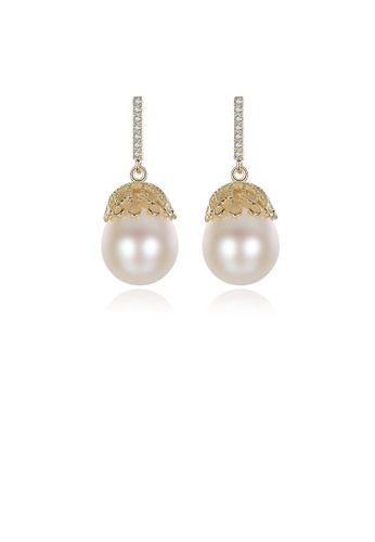 Glamorousky white 925 Sterling Silver Plated Gold Flower White Freshwater Pearl Earrings F58C1ACC1BE890GS_1