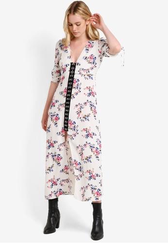 TOPSHOP white Floral Hook & Eye Midi Dress TO412AA12RHRMY_1