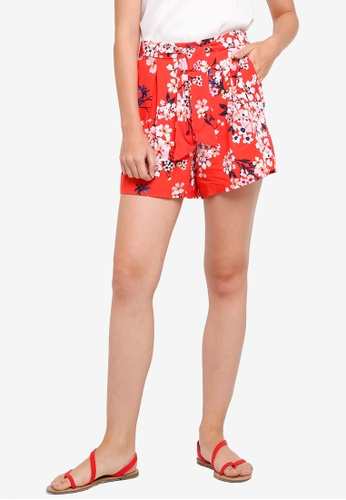 Dorothy Perkins red Red Floral Blossom Shorts 00D48AA9D9F981GS_1