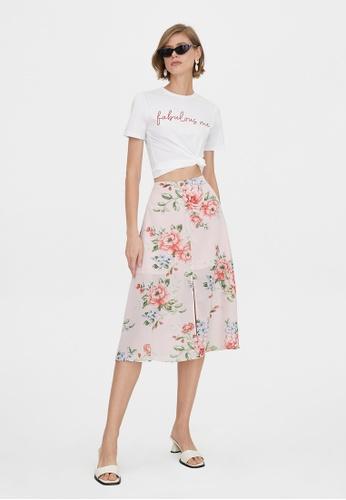 Pomelo pink Bold Floral Front Slit Flared Skirt - Pink 88106AAFA0906BGS_1