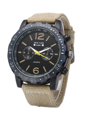 Greatvalueplus brown Delrick Men's NYA8802 Nylon Strap Watch D11F9AC8D9C61DGS_1