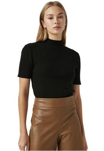 KOTON black Basic Short Sleeve Sweater ACCADAA6884147GS_1