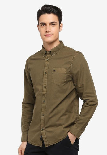 Jack Wills green Atley Lw Oxford Shirt 432BDAA19007EAGS_1