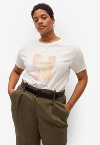 Violeta by MANGO white Plus Size Organic Printed Cotton T-Shirt 5390FAAD25934BGS_1