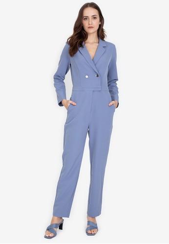 ZALORA WORK blue Long Sleeves Lapel Jumpsuit BD381AA793852EGS_1