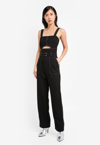 TOPSHOP black Topstitch Belted Jumpsuit TO412AA0SRRTMY_1