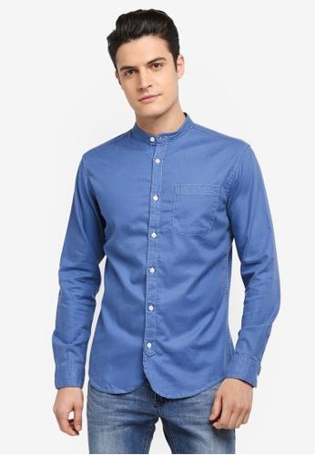 Selected Homme 藍色 中山領長袖素色襯衫 A6510AA39EB903GS_1