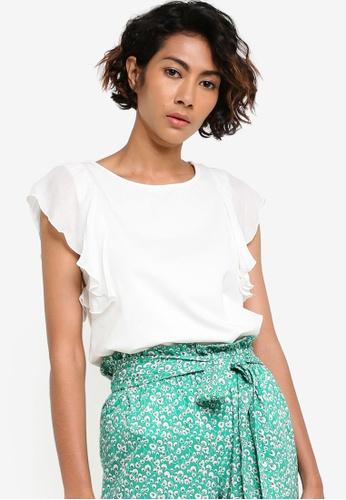 Mango white Ruffle Sleeve T-Shirt MA193AA13BYOMY_1