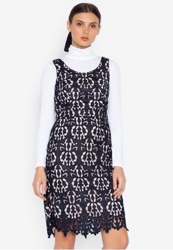 Susto The Label navy Silva Eyelet Floral Crochet Dress C464EAAAF272EEGS_1