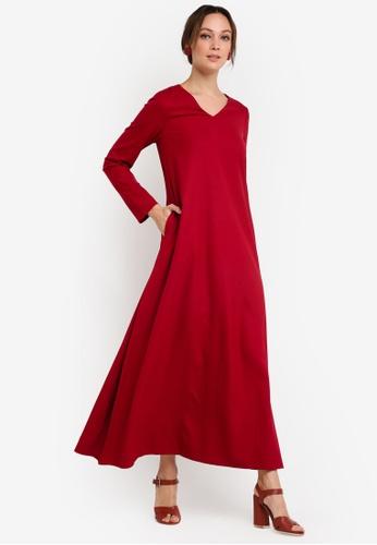 Tsyahmi for ZALORA red Basic Maxi Dress TS528AA21ZBIMY_1