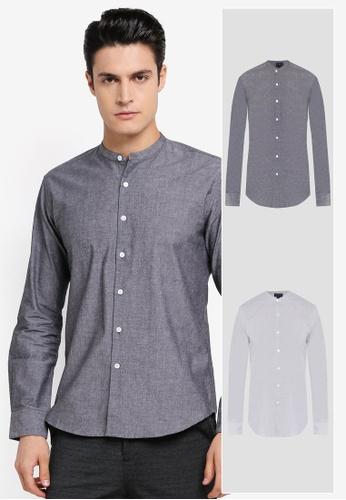 ZALORA black and grey 2 Pack Slim Fit Mandarin Collar Chambray & Stripe Long Sleeve Shirt ZA819AA0T295MY_1