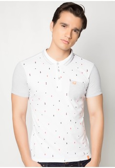 Printed Slim Fit Polo Tee with Front Pocket