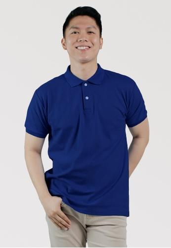 CROWN blue Men's Polo Shirt 6DD7EAABB09C2CGS_1