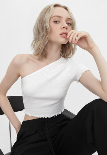 Pomelo white Sustainable One Shoulder Tee - White 2B683AADB403B0GS_1