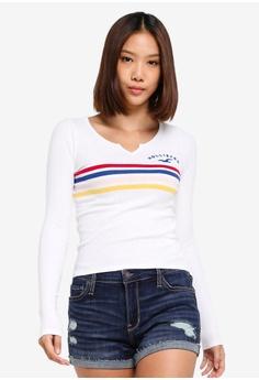 201d732c637 Hollister white Long Sleeve Slim Rib Top 7E6C4AA7E67451GS 1