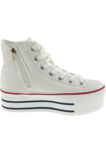 Maxstar white Maxstar Women's C50 7 Holes Zipper Platform Canvas High Top Sneakers US Women Size MA164SH53PWCSG_1