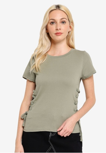 Brave Soul green Lace Up Side T-Shirt A4A9FAAD29556CGS_1