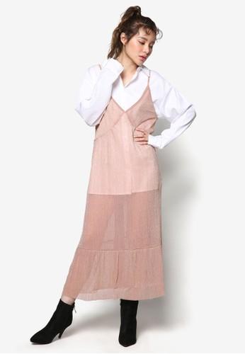 韓系時尚珍珠esprit香港門市細肩帶連身裙, 服飾, 洋裝