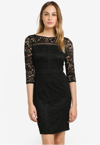 Wallis black Black Lace Panel Sleeve Dress WA800AA0RSRJMY_1