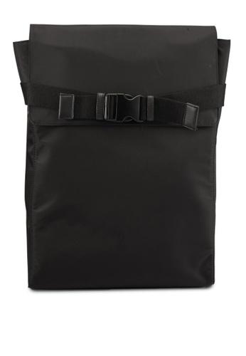 ZALORA black Flap Nylon Backpack 32C8CAC925E632GS_1