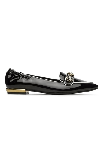 Byford black Janet - Pointed Toe Paneled Flats 452E8SHEDAFD60GS_1