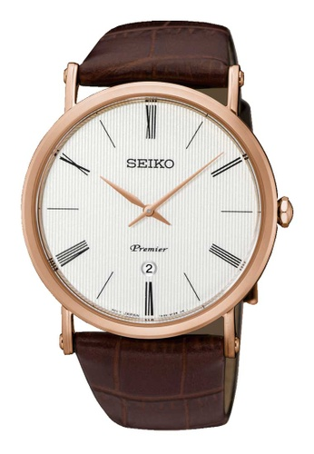 Seiko brown Seiko Premier Gold and Brown Leather Watch 7D321ACACB250FGS_1