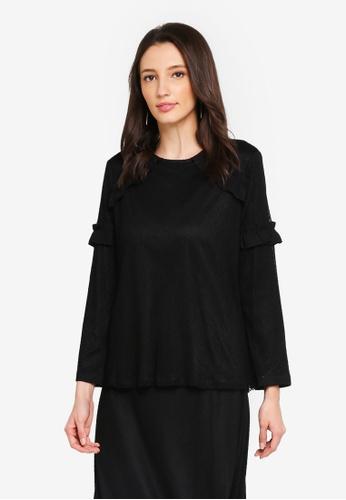 Zalia black Lace Frill Top AD056AA56F655FGS_1
