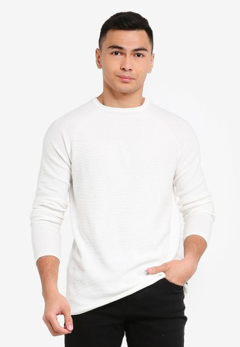 Only & Sons white Dextor Life Washed Raglan Knit Pullover 393B6AA85BB459GS_1