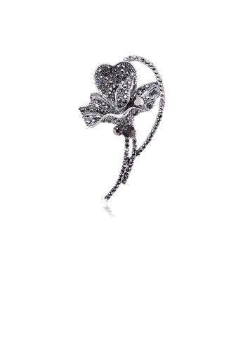 Glamorousky black Fashion and Elegant Flower Brooch with Black Cubic Zirconia 1ADA7ACB5F49B6GS_1