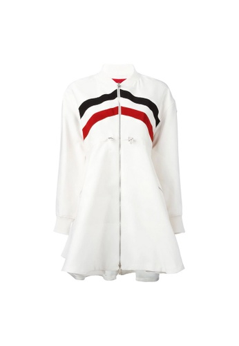 Moncler white Moncler Gamme Rouge Striped Flared Coat in White 66C8DAAA740658GS_1