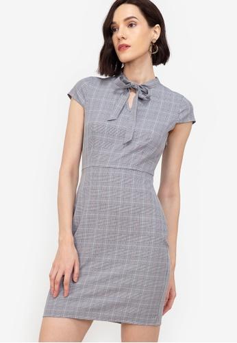 ZALORA WORK multi Tie Neck Cap Sleeve Dress 01D9FAAA9D0F6DGS_1