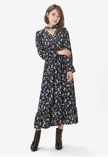 YOCO navy Floral Choker Dress 9D36DAA2CE5E30GS_1