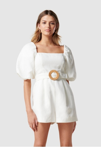 Forever New white Sonia Petite Puff Sleeve Playsuit 8EE97AA77279D3GS_1