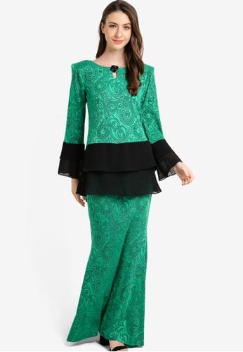 Zuco Fashion green Chiffon Peplum Midi Kurung ZU882AA08HCLMY_1