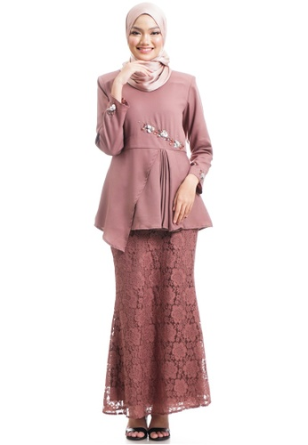 Ashura brown Rima Kurung With Pleated Peplum 776B4AA09627D9GS_1