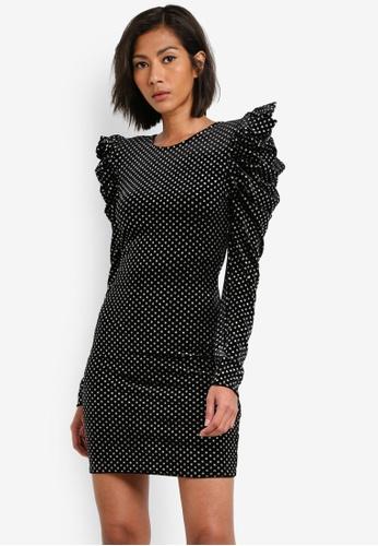 Miss Selfridge black Velvet Glitter Spotted Bodycon Dress MI665AA0S7BTMY_1