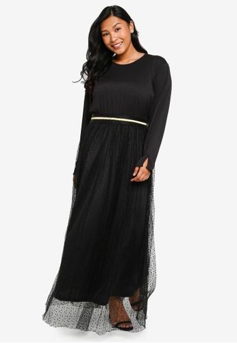 CURVA FABULOUS black Ms Sasha Tulle Maxi Dress 768CDAABF2CE00GS_1