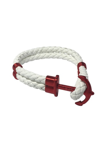 Splice Cufflinks white Grapple Series White PU Leather Red Anchor Bracelet SP744AC44XFVSG_1