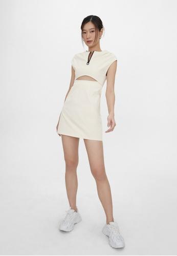 Pomelo beige Cut Out Front Zip Dress - Cream 31A91AA7E39C98GS_1