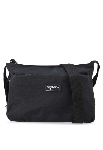 Bagstationz black Crinkled Nylon Multi-Compartment Sling Bag 7AA48AC00E97A5GS_1
